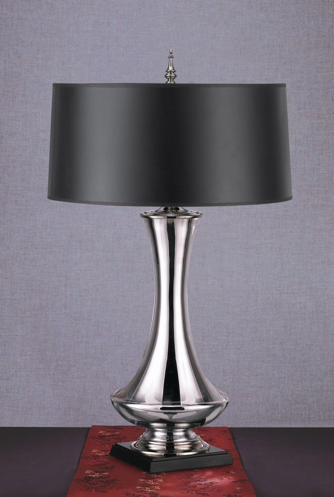 One light mirror glass black parchment silver foil lined shade table lamp